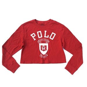 POLO Ralph Lauren Red Whit Long Sleeve Crop Top